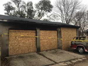 Board Up Secure Structure Garage Fire