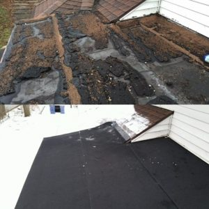 Before and After of a multi-ply low-slope roofing membrane